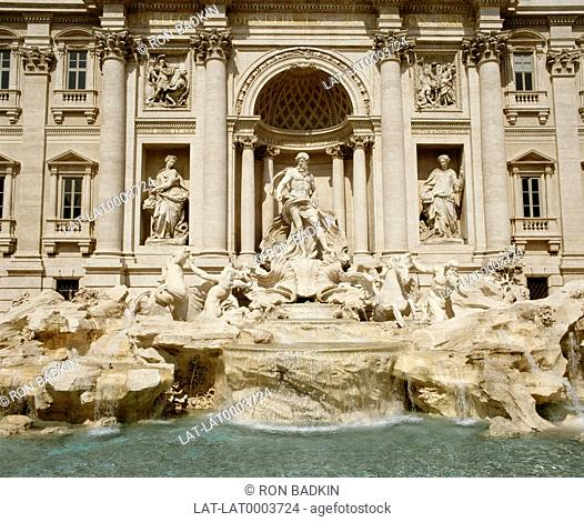 The Trevi fountain,the largest baroque fountain in Rome,was completed in 1762. The fountain is 85 feet high,and 65 feet wide