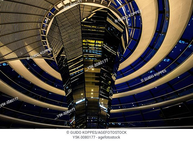 Berlin, Germany. The Reichstag Parliament building's dome at night. The Dome became one of Berlin's travel destinations and touristic hotspots