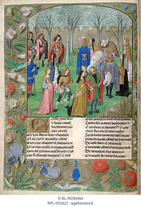 The Carolle in the Garden Whole folio. The Lover is invited to dance with a group of couples led by Sir Mirth and Lady Gladness
