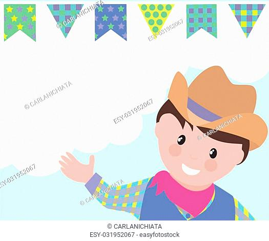 Cute cowboy cartoon and decorative flags background