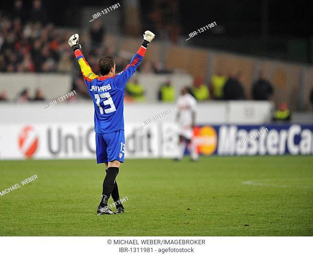 Goalkeeper Javi Varas, FC Sevilla football club, celebrating a goal