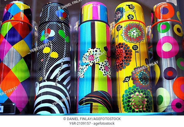 Colourful vacuum flasks on sale in Covent Garden, in the heart of London, England