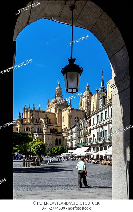 The Plaza Mayor in the city of Segovia, Spain