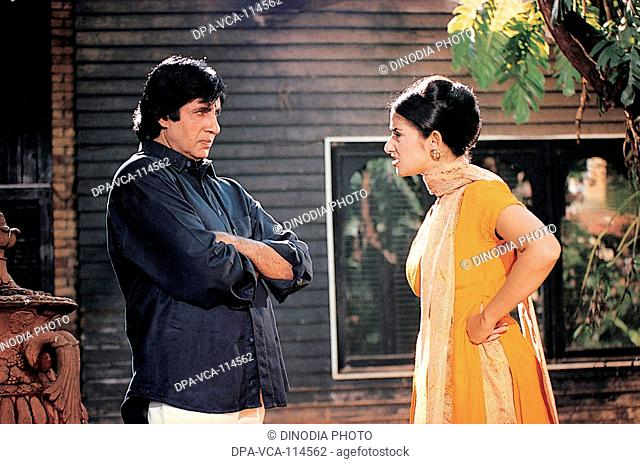 South Asian Indian actor Amitabh bachchan and Manisha Koirala during a film shoot NO MR
