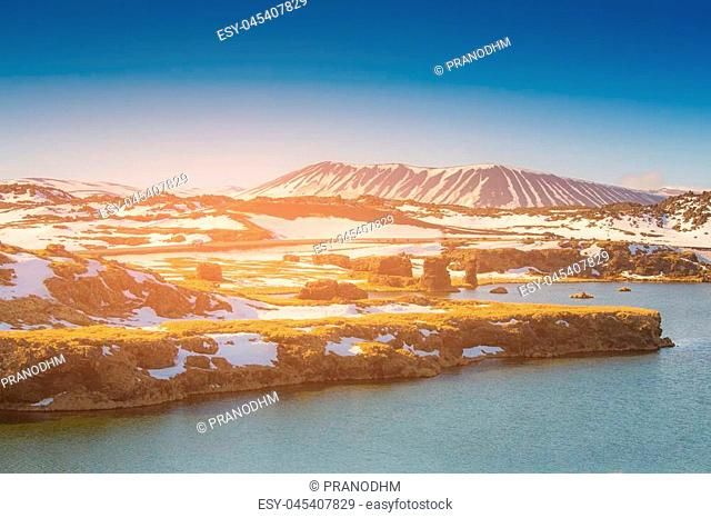 Myvant Volcano Iceland winter season natural landscape background