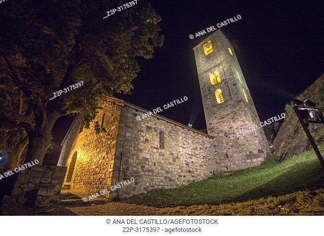 Sant Joan de Boi church Boi village by night Boi valley Catalonia Spain