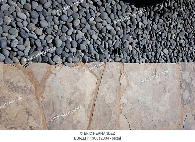 High angle view of pebbles; Valencia; California; USA