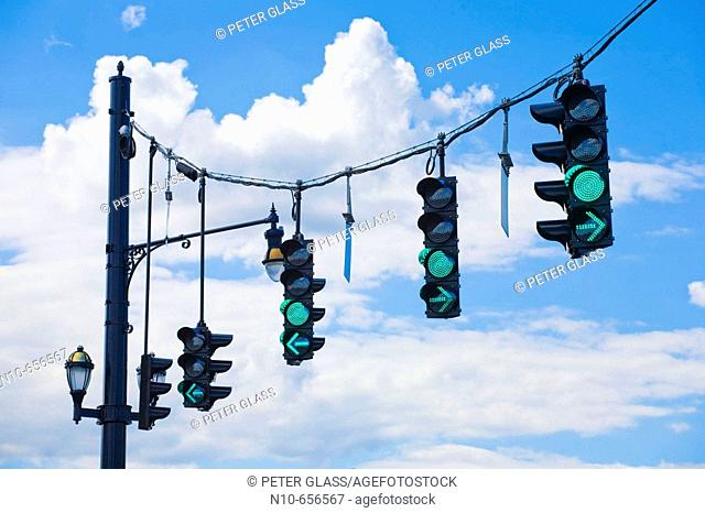 Traffic signal lights on green