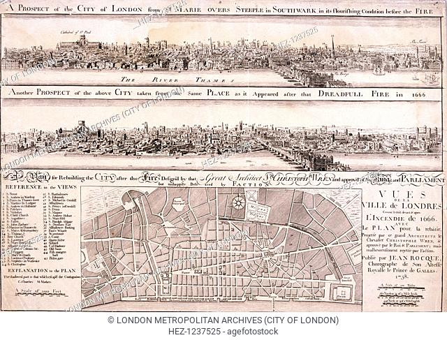 Upper panel shows the City of London from Southwark before the Great Fire of London in 1666; middle panel shows the same view after the Great Fire