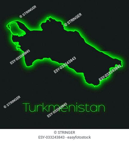 A Neon outline of Turkmenistan