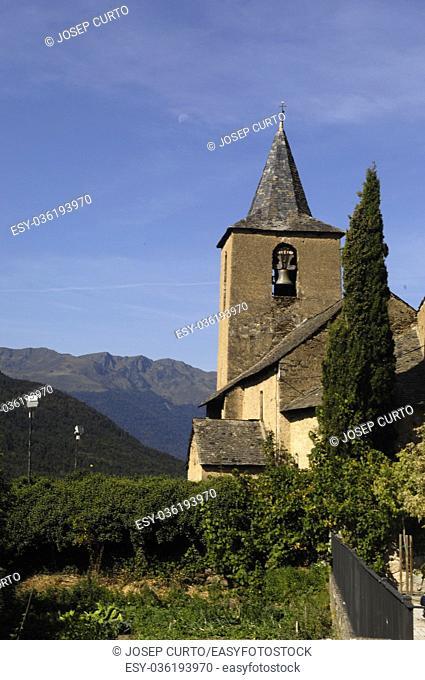 Sant Peir church of Betlan village,Aran Valley, pirenees, Lleida province, Spain