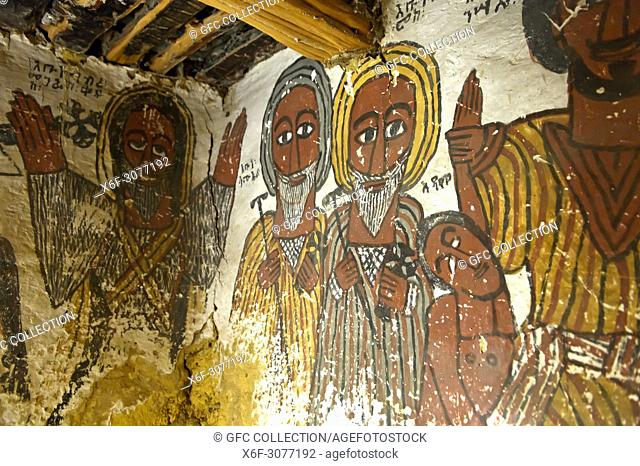 Portraits of Abba Samual and Abuna Kiros, painting in the rock-hewn church Petros and Paulus Melehayzengi, Tsaeda Amba mountains, Tigray, Ethiopia