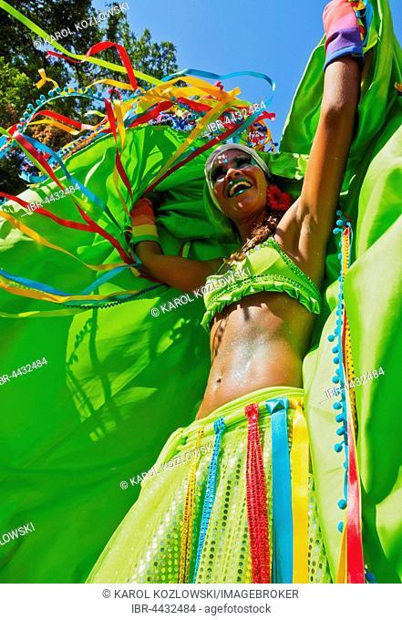 Woman at traditional carnival parade, Bloco das Carmelitas, Santa Teresa, Rio de Janeiro, Brazil