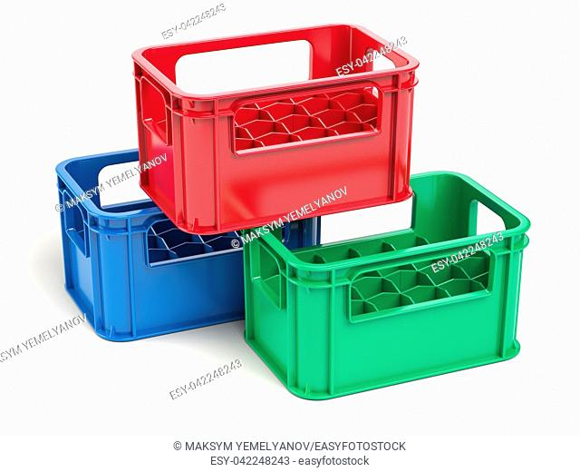 Empty plastic storage crates for bottles isolated on white background. 3d illustration