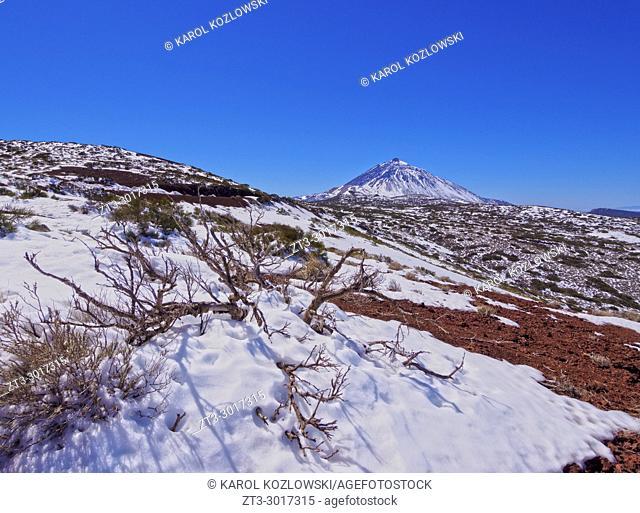 Teide National Park covered with snow, Tenerife Island, Canary Islands, Spain