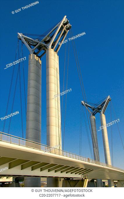 Flaubert bridge (detail), Rouen Commerce Harbour, River Seine, Rouen, Upper Normandy,76000, France