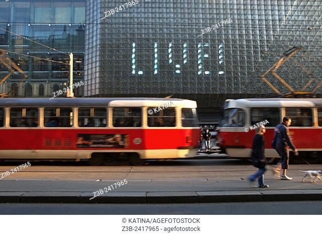 A tram passing by the Nova Scena, or 'The New Stage, ' a modern extension of the National Theater and located just behind it, Designed by Karel Prager