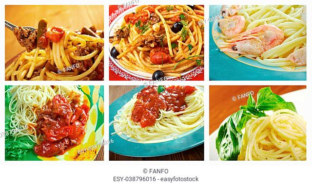 Food set of different spaghetti. collage