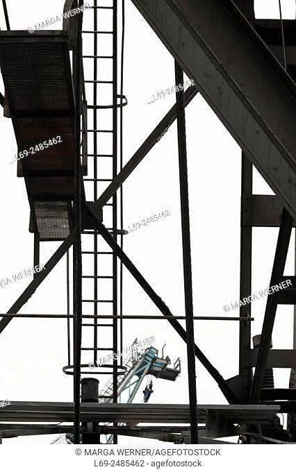 Crane construction with crane in background, Hamburg harbor, Germany