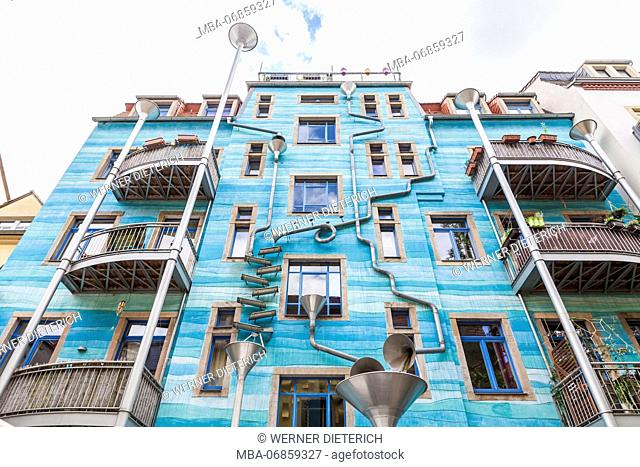 Germany, Saxony, Dresden, Neustadt, Kunsthofpassage, Hof der Elemente, inner courtyard, decorated facade with downspouts