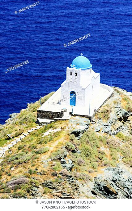 Whitewashed blue domed Church of the Seven Martyrs, Sifnos Island, Cyclades, Greece