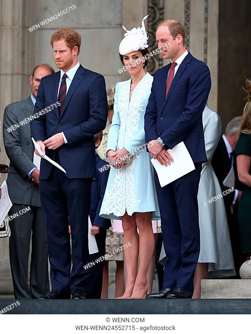 Queen Elizabeth II, accompanied by Prince Philip, Duke of Edinburgh, and other members of the Royal Family attend a 'Service of Thanksgiving' to commemorate her...