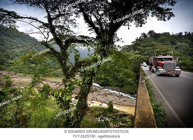 Freight truck on Route 32, (across the bridge of Rio Sucio) also called Braulio Carrillo National Road, forms the only route that connects San José