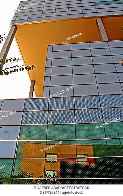 Builging in works, reflection, Zona Franca's avenueu, Barcelona, Catalonia, Spain