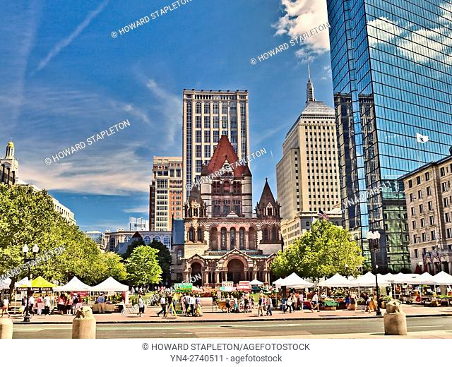 Copley Square and the Trinity Church. Boston, Massachusetts