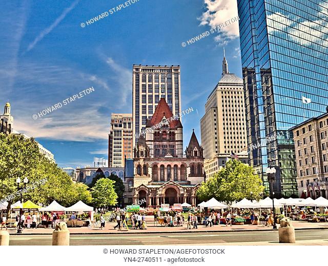 Copley Square and the Trinity Church. Boston, Massachusetts