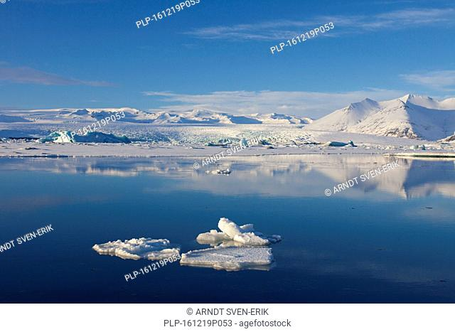 Drift ice floating in Jökulsárlón glacier lagoon in winter, glacial lake in southeast Iceland