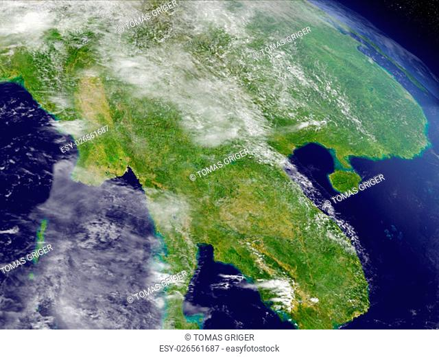 Myanmar with surrounding region as seen from Earth's orbit in space. 3D illustration with highly detailed realistic planet surface and clouds in the atmosphere