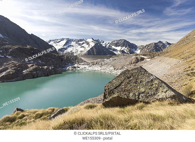 View of Lake Baitone and the high peaks in background Val Malga Adamello Regional Park province of Brescia Lombardy Italy Europe