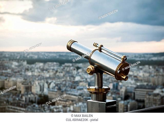 Telescope at top of Eiffel Tower, Paris, France