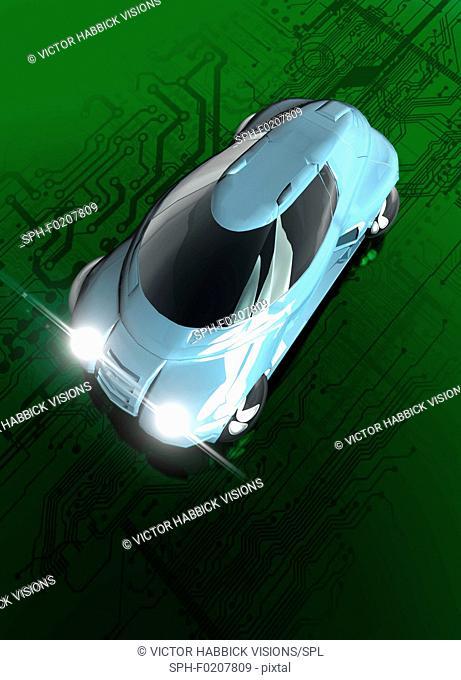Self driving electric car, illustration