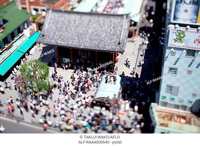 Tilt-shift bird's eye view of Asakusa, Tokyo, Japan