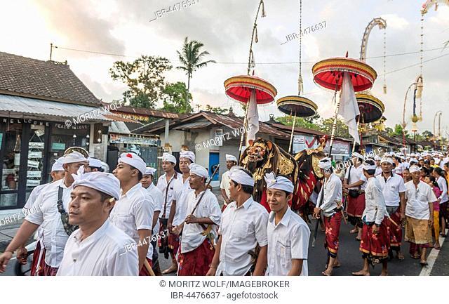 Procession, Balinese Galungan, religious ceremony, holiday celebrating return of the spirits of ancestors, Bali-Hinduism, Bali, Indonesia