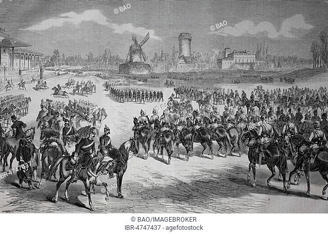 The Imperial Parade on Longchamp near Paris on March 3, 1871, woodcut, France