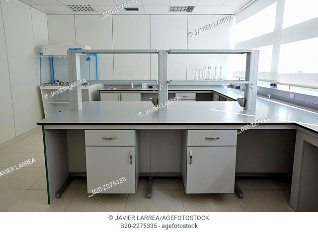 Empty chemical laboratory. Technology Park. Euskadiko Parke Teknologikoak. Miramon. Donostia. San Sebastian. Gipuzkoa. Basque Country. Spain