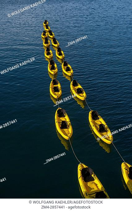 A line of kayaks in the Golfo Dulce near the Saladero Ecolodge in Costa Rica