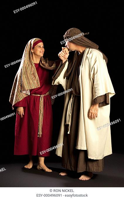 people depicting mary and joseph