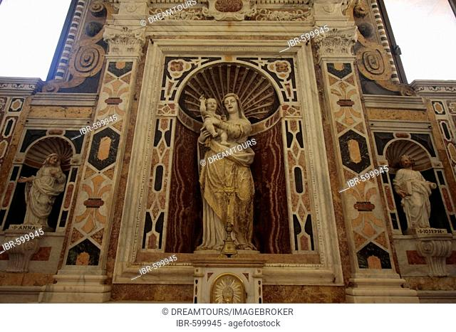 Maria and child in the cathedral of Cagliari (Church Santa Maria di Castello) Cagliari, Sardinia, Italy, Europe