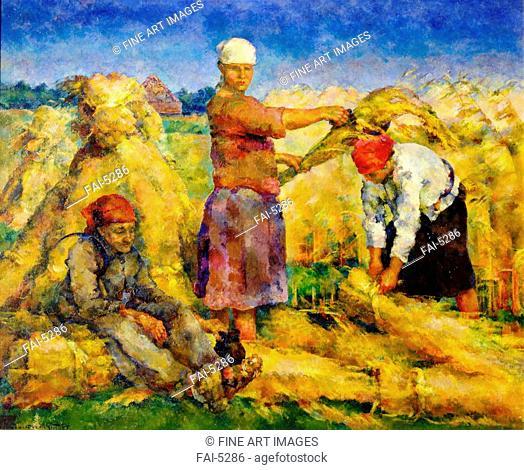 The Harvest. Rozhdestvensky, Vasili Vasilyevich (1884-1963). Oil on canvas. Russian avant-garde. 1925. State Art Museum, Samara. 158x197. Painting