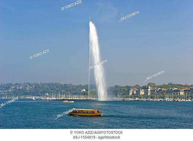'Jet d'Eau' fountain, Lake Leman, Geneva, Switzerland