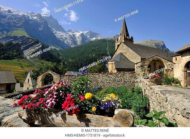 France, Hautes Alpes, Ecrins National Park, La Grave la Meije village, labelled Les Plus Beaux Villages de France (The Most Beautiful Villages of France) and...