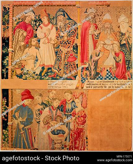 Seven Scenes from the Story of the Seven Sacraments, Namaan Being Cleansed in the Jordan. Date: ca. 1435-50; Culture: South Netherlandish; Medium: Wool warp