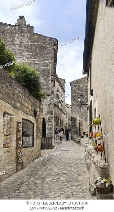 Street of the Village Les Baux-de-Provence. Bouches du Rhone, Provence, France, Europe