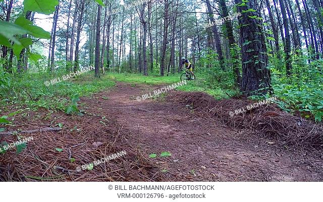 Mountain biking in the back wood trails of Copperhill, Tennessee USA