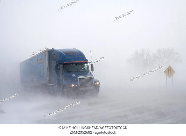 Ground blizzard overtakes western Iowa January 29, 2008. Visibility was down to zero along this stretch of highway 30 near Desoto Bend National Wildlife Refuge