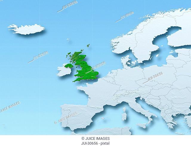 United Kingdom, map, Western Europe, grey, blue, physical, political
